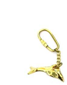 Solid Brass Metal Dolphin Fish Keychain