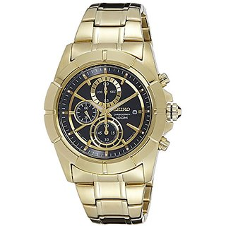 Seiko Chronograph Black Dial Gold-Tone Mens Watch (SNDE74)