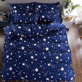 Choco Blue Star Double Bedsheet  Pack of 1+2 Pillow Cover