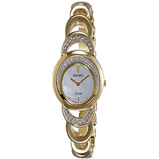 Seiko Solar Analog Mother of Pearl Dial Womens Watch - SUP298P1