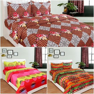 BSB Trendz 3D Printed 3 Double Bed Bedsheet   Like Soft Cotton With 6 Pillow Covers