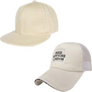 0ec30d2436d Buy DRUNKEN Pack Of 2 Men s Cotton And Mesh Stylish Adjustable Freesize Cap  Color (White) Online - Get 41% Off