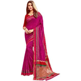 Ashika Cotton silk  Woven  Two Tone- Fuscia  Saree for Women