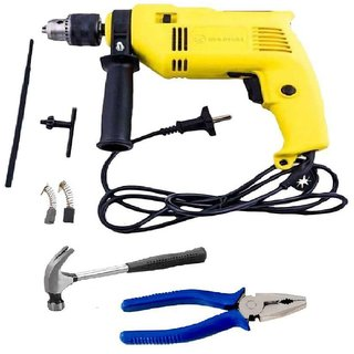 Buildskill - 13mm Drill + Plier+Claw Hammer 500W 13mm Corded Drill Kit