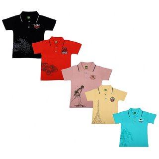 Kavin's Awesome n Trendy looking Collar T-Shirts, Pack of 5, Multicolored