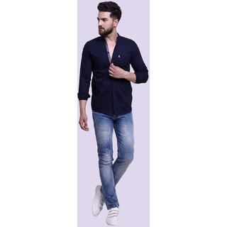 29K Slim Fit Plain Chinese Collar Navy Casual Cotton Shirt