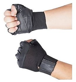 Carpoint Black Gym Gloves With Wrist Support (Leather) - Free Size (High Quality)