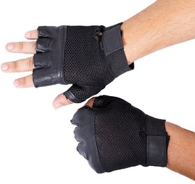 Carpoint Black Leather Gym Gloves - Free Size (High Quality)