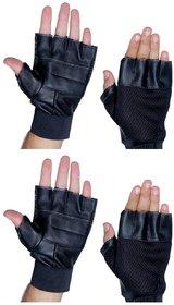 Leather Black Gym Gloves (Set Of 2)