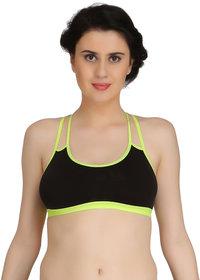Fashion Comfortz Women Black Cotton Lycra Sports Bra