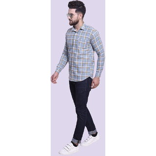 29K Mens Slim Fit Grey Checkered Cotton Casual Shirts