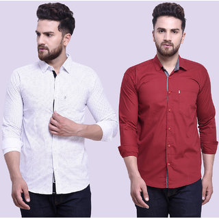 29K Mens Slim Fit Maroon white Cotton Casual Shirts