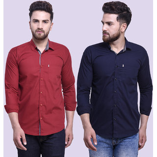 29K Mens Slim Fit Maroon Navy Cotton Casual Shirts