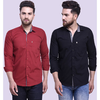 29K Mens Slim Fit Maroon Black Cotton Casual Shirts
