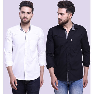 29K Mens Slim Fit White Black Cotton Casual Shirts