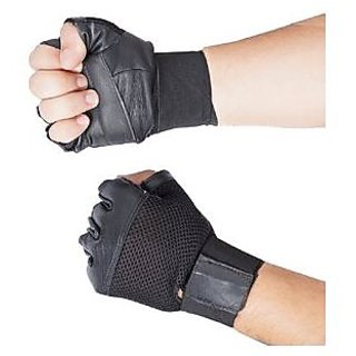 Carpoint Black Gym Gloves With Wrist Support Leather   Free Size High Quali