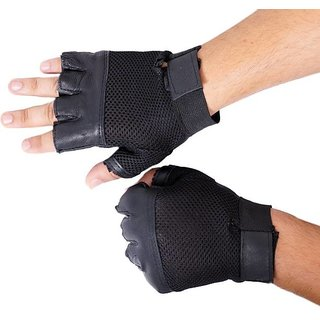 Black Leather Gym Gloves - Free Size (High Quality)
