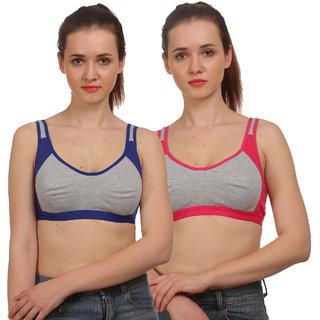 Fashion Comfortz Women's Multicolor Cotton Lycra Sports Bra