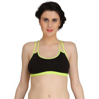 Fashion Comfortz Women's Black Cotton Lycra Sports Bra