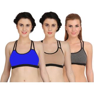 4af6debb1f545 Buy Fashion Comfortz Women s Multicolor Cotton Lycra Sports Bra ...