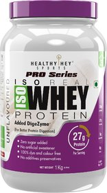 HealthyHey ISO Whey Protein - ISOReal (Produced in USA) - 90 Protein with Digestive Enzymes