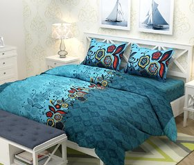 Choco Aqua 50-50 Double Bedsheet Pack of 1 + 2 Pillow Cover
