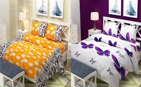 Choco Yellow White Purple Butterfly Double Bedsheet pack of 2 +4 Pillow Cover