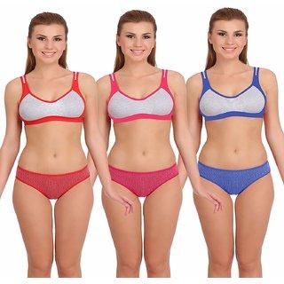 Buy Fashion Comfortz Women s Multicolor Cotton Lycra Lingerie Set ... 5d8c98ee2