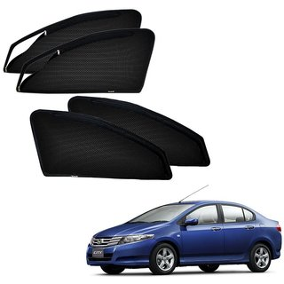 Auto Addict Zipper Magnetic Sun Shades Car Curtain For Honda Ivtec City Old (2008-2014)