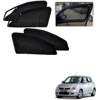 Auto Addict Zipper Magnetic Sun Shades Car Curtain For Maruti Suzuki Swift Old (2005-2011)