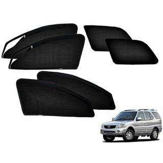 Auto Addict Zipper Magnetic Sun Shades Car Curtain For Tata Safari