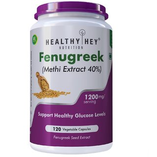 HealthyHey Fenugreek Seed 40 Methi Extract - 1200 MG Veg-Capsule, 120 Count