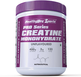 HealthyHey Sports Creatine Monohydrate 400gm - 133 Servings