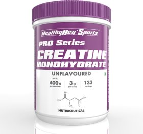 Healthy Hey Nutrition Unflavoured Sports Creatine Monohydrate 400gm - 133 Servings