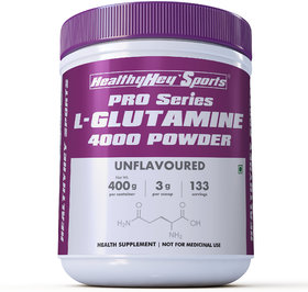 HealthyHey Sports Glutamine Powder, Muscle Growth and Recovery - 400g - 100 Servings