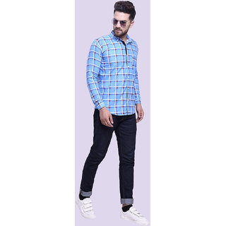 29K Mens Slim Fit Sky Checkered Cotton Casual Shirts