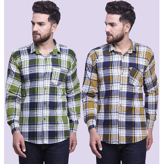 29K Mens Slim Fit Green Yellow Checkered Cotton Casual Shirts