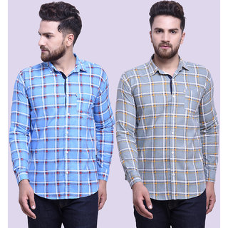 29K Mens Slim Fit Sky Grey Checkered Cotton Casual Shirts