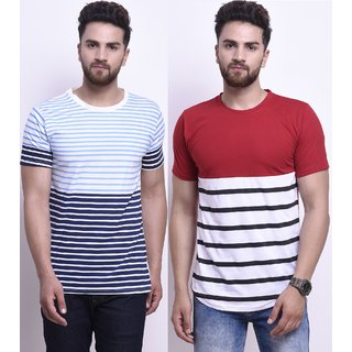 Stylesmyth Multicolor Cotton Half Sleeves T-shirt (Pack of 2)
