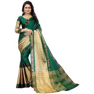 Fabrica Shoppers Designer cotton Silk green cream color Kanjivaram saree