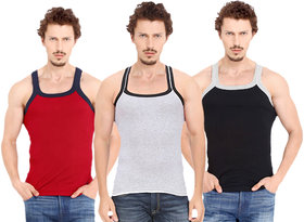 Fashion Trend Mens Gym Vest pack of 3(Red,Grey,Black)