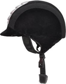 Bulaqi Dass Horse Riding Helmet Polo Cap With White Strips In Black - For Men And Women, Fibre, 22 Inch