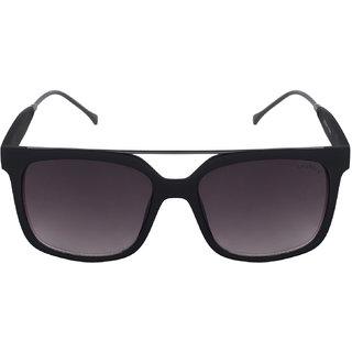 Laurels Black Polarized Rectangular Men Sunglasses