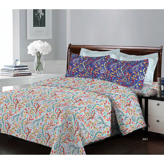 Bombay Dyeing Breeze 3961 Cotton Double Bedsheet with 2 Pillow Covers
