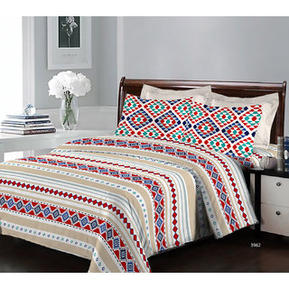 Bombay Dyeing Breeze 3962 Cotton Double Bedsheet with 2 Pillow Covers