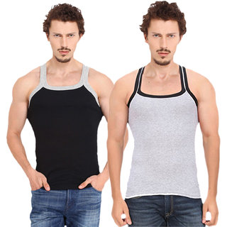 Fashion Trend Mens Gym Vest pack of 2(Black and Grey)