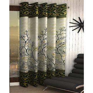 Designer Green Color Eyelet Polyester Curtain Door Length (Set of 1 Pcs) 84x48