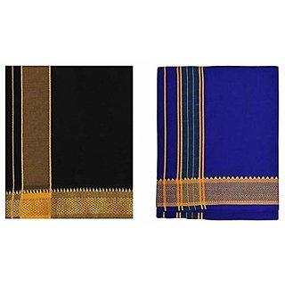 colour mundu / dhothi /colour veshti ( Black blue combo 2 Nos)