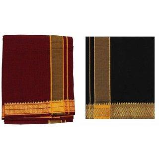 colour mundu/dhothi /colour veshti (Black  maroon combo 2 Nos)