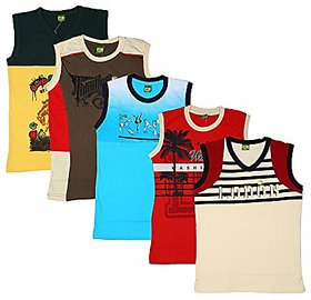 Kavin's Cotton Trendy  Stylish Sleeveless T-Shirts for kids, Pack of 5, Multicolored, Combo Pack